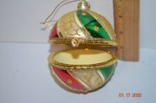 Large Hinged Christmas Ornament Gift box Glass Multi-color glitter