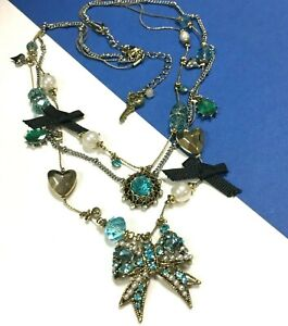 New BETSEY JOHNSON Blue Crystal Bow CHARMS NECKLACE Pearl Gold Heart QQ124J