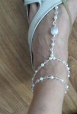 SEXY ANKLET WHITE & CLEAR BEADS PEARL  FOOT FINGER JEWELLERY, STRETCH