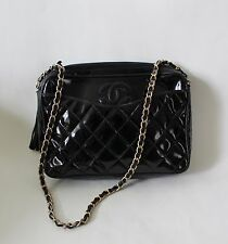 Vintage CHANEL CC Quilted Patent Leather Gold Chain Handbag Shoulder Bag