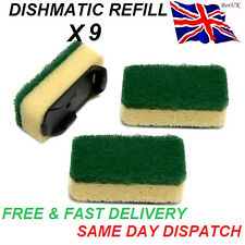 9x Heavy Duty VERDE dishmatic dishmatique SPUGNA Scourer sostituzione RICARICA HEAD