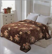 Solaron Korean Blanket throw 3D Mink silk King Red Roses Flowers Chocolate Brown