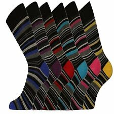 Pack of /6  Mens Contrast Heel & Toes Coloured Plain & Stripy Cotton Socks
