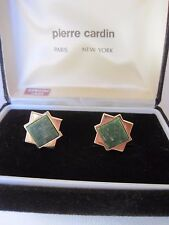 Pierre Cardin Gold-Tone and Jade Cufflinks, Star Design, New Old Stock