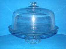 """HAVE YOUR CAKE & PUNCH TOO! 11"""" CAKE STAND WITH DOME IN HEAVY GLASS- PUNCH BOWL"""