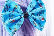 Fairytale Genie Printed Fabric Hair Bow - Blue Handmade Hair Clip