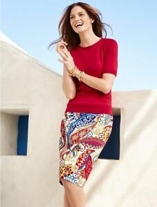 NEW $99 TALBOTS Red,Blue Paisley Swirls Canvas Pencil Skirt Sz 8P,8 Petite