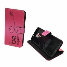 Schutz Hülle für Handy Huawei Honor 5c Be Happy Pink Tasche Case Wallet Etuis