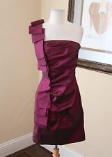 Cache Purple Pink Ruffle One Shoulder Mini Cocktail Party Club Dress Size 6