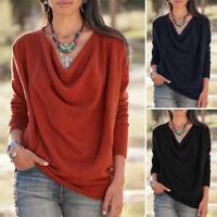 ZANZEA UK Women Long Sleeve Pullover Cowl Neck Blouse Tee Shirt Casual Loose Top