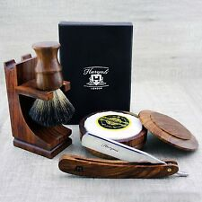Vintage style Shaving Set Straight Razor / Cut Throat & Pure Black Badger Brush
