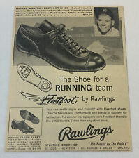 1959 Rawlings Fleetfoot shoes ad ~ MICKEY MANTLE