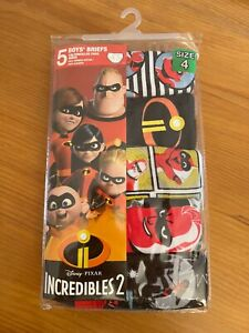 *NWT* Incredibles 2 Boys 5 briefs 100%combed cotton size 4/8