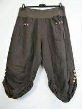 Pantalones de mujer marrones, 100% lino