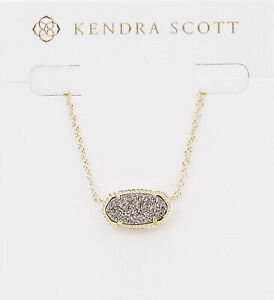 Kendra Scott Elisa Oval Pendant Necklace in Platinum Drusy and Gold