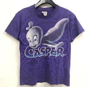 Vintage 90s Casper Movie T-Shirt Youth SZ L Womens XS Purple Print Tie Dye B12