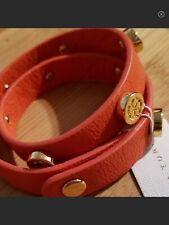 Trina Turk Leather Gold Plated Stud Wrap Bracelet Adjustable