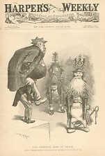 Political Cartoon, Uncle Sam, Pension Frauds, Vintage, 1898 Antique Art Print