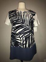 Weekend Max Mara Blue & White Fern Print Shirt, Size Large