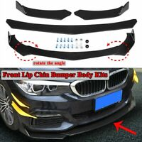 Black Universal Front Bumper Spoiler Lip Body Kit Splitter Chin Decoration MU