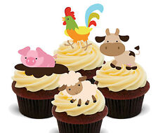 Farm Animals Edible Cupcake Toppers - Fairy Cake Bun Decorations, Kids Birthday