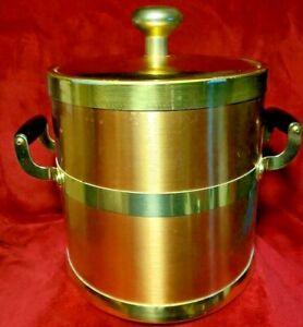 Kraftware 5 Qt. Ice Bucket Polished Brass & Copper Wood Side Handles Mid Century