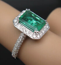 Solid 18K White Gold Genuine Natural Green Emerald Engagement VVS Diamonds Ring