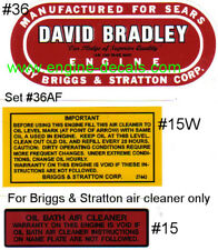 David Bradley engine decal Sears B&S Air filter Set of 2-36 & 1-15