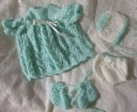 "Doll Clothes Mint Matinee set Handmade for Baby Berenguer La Newborn 15"" 14"""