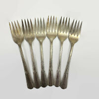 "Rogers IS Royal Pageant Set of 6 Salad Forks 6"" Vintage Silverplate Flatware"