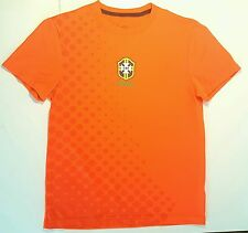Brasil Soccer Futbol Football T Shirt  Adult Small Bright Orange Brazil