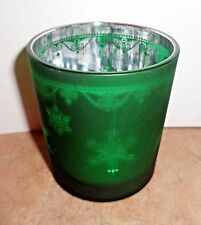 """YANKEE CANDLE """"SNOWFLAKES""""GREEN FLICKER GLASS TEA LIGHT VOTIVE CANDLE HOLDER NWT"""