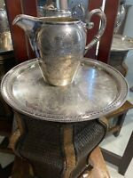 BLAGDEN HODGSON Sheffield Water Pitcher & Tray Silver Plate~ England: Engraved D