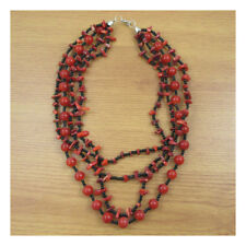 "16""/ 17"" Necklace Costume Jewellery Evening Boho Red Coral NaturalStone 113"