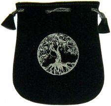 "Black Velvet Bag / Pouch 5"" x 5"": Tree of Life (Wicca Talisman Drawstring) Tarot"