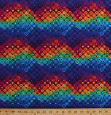 Fantasy Forest Rainbow Colorful Geometric Cotton Fabric Print by Yard D371.31