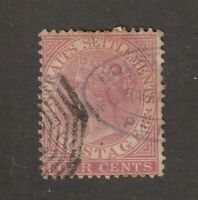 Straits Settlement stamp #11, used, Queen Victoria, great cancellations