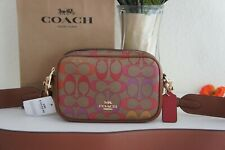 NWT Coach C1308 Jes Double Zip Crossbody 20 Bag in Rainbow Signature Khaki $298