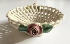 Capodimonte Lace Basket Trinket with Roses, Vintage - 3""