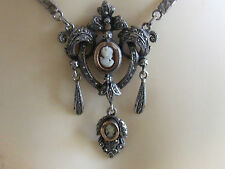 Breathtakingly Beautiful Dangle Double Cameo Royal Emblem Solid Silver Necklace