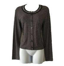 GERRY WEBER Women's UK 12 Nautical Striped Jersey Jacket Cardigan Casual Fashion