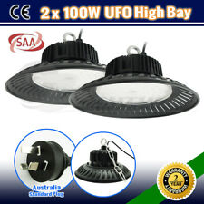 2x UFO 100W LED HIGH LOW BAY WORKSHOP LIGHT WAREHOUSE INDUSTRIAL FACTORY LAMP