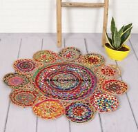 Handmade Cape Cod Boho Braided Red/ Multi Cotton Rug - 3' x 3' round Indian Rugs