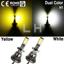 2X H1 White and Yellow Car Fog Driving LED DRL Light Bulb 6500k 80W 2 color 12V