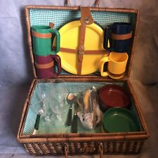 Wicker Picnic Basket Hamper Set Four People Plates Cups Cutlery Retro