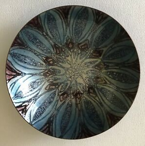 Mid Century Modern Handmade Enamel Artist Signed Father Gregory Medium Blue Bowl
