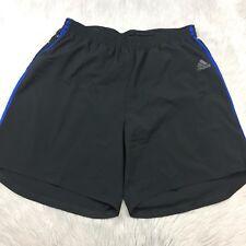 "NWT Adidas Black Blue Striped RS 7"" Active Shorts Mens Sz L"