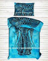 Indien Turquoise Lit Housse Coton Éléphant Imprimé Double Drap dessus Set