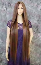 Brown/Blonde/Auburn Super Long Straight Lace Front Human Hair Blend Wig EVFC
