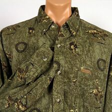 Outdoor Life LS Shirt Cowboy Bucking Bronco Saddle Lariat Print Mens 2XL XXL